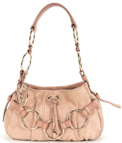 YVES SAINT LAURENT Pink Suede Gold Tone Hardware