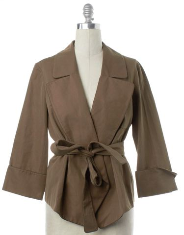 YVES SAINT LAURENT Brown Cotton Wide Lapel Belted Basic Jacket