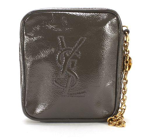 YVES SAINT LAURENT Gray Patent Leather Belle Du Jour Chain Wristlet Clutch