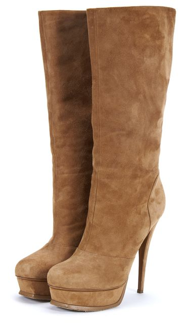YVES SAINT LAURENT Brown Suede Leather Tribute Mid Calf Boots