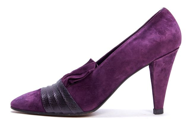 YVES SAINT LAURENT Purple Suede Leather Lizard Detail Pumps