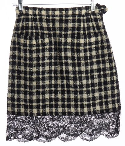 YVES SAINT LAURENT Black White Plaid Wool Lace A-Line Skirt