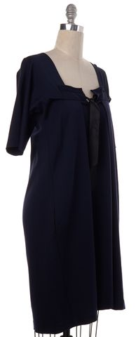 YVES SAINT LAURENT Navy Blue Pleated Fit Flare Dress