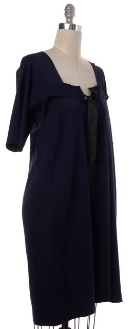 YVES SAINT LAURENT Navy Blue Jersey Black Bow Pleated Shift Dress
