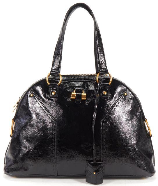 YVES SAINT LAURENT Black Patent Leather Medium Muse Shoulder Bag
