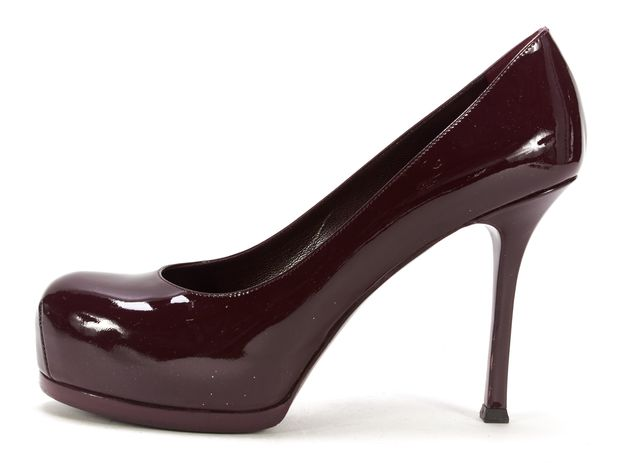 YVES SAINT LAURENT Oxblood Red Patent Leather Hidden Platform Heels