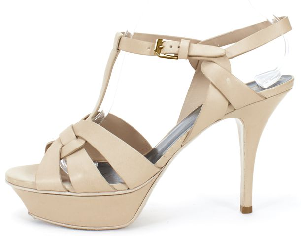YVES SAINT LAURENT Beige Leather Classic Tribute Sandal