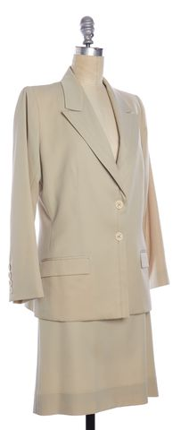 YVES SAINT LAURENT Vintage Beige Wool Skirt Suit Set