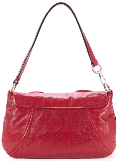 YVES SAINT LAURENT Red Leather Nadja Rosette Shoulder Bag