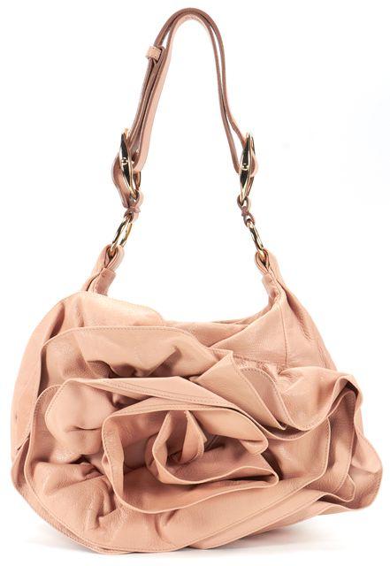 YVES SAINT LAURENT Beige Leather Rosette Detail Shoulder Bag