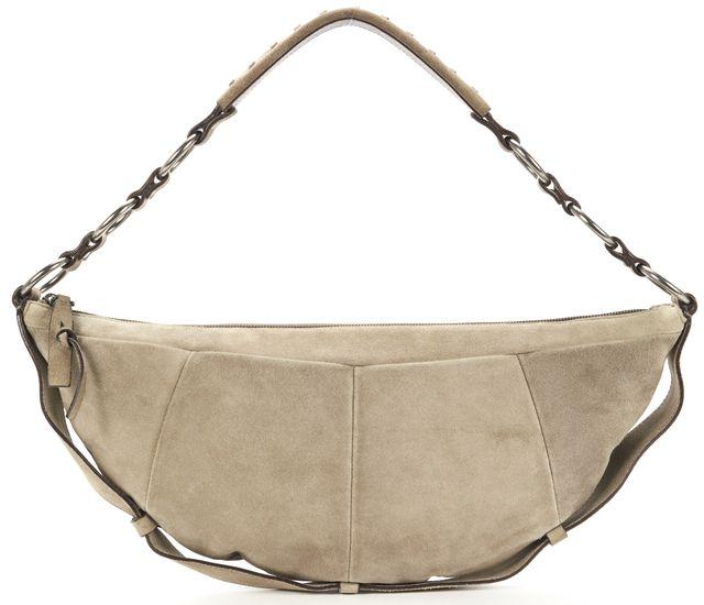 YVES SAINT LAURENT Beige Suede Silver Ring Hobo Shoulder Bag
