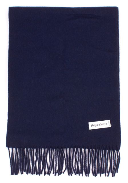 YVES SAINT LAURENT Navy Blue Wool Cashmere Knit Scarf