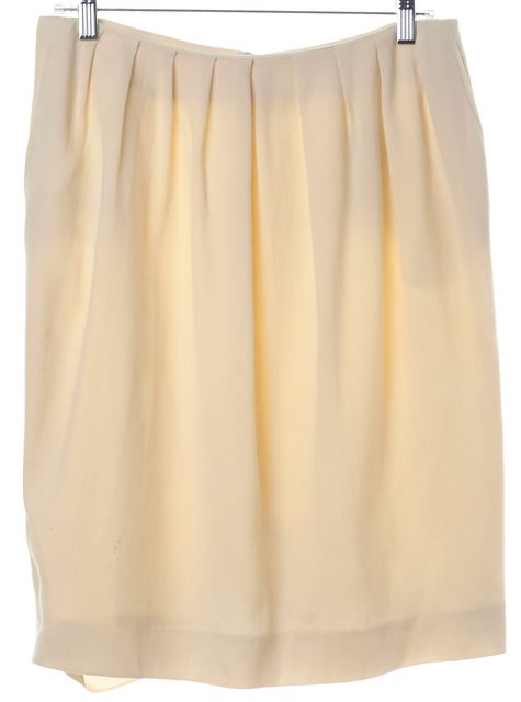 YVES SAINT LAURENT Ivory Wool Pleated Skirt