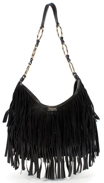 YVES SAINT LAURENT Black Fringe Suede Leather Hobo Shoulder Bag