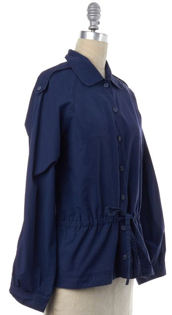 YVES SAINT LAURENT Navy Blue Cotton Drawtring Waist Basic Jacket