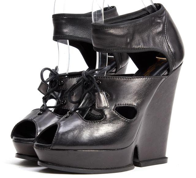 YVES SAINT LAURENT Black Leather Ankle Strap Peep Toe Platform Wedges