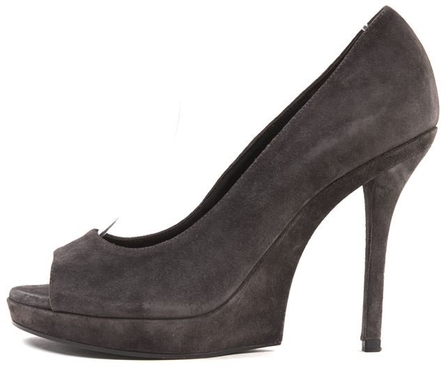 YVES SAINT LAURENT Gray Suede Leather Open Toe Pumps