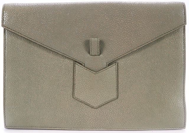 YVES SAINT LAURENT Beige Pebbled Leather Envelope Clutch Bag