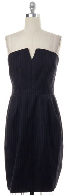 YVES SAINT LAURENT Black Striped Wool Sheath Dress
