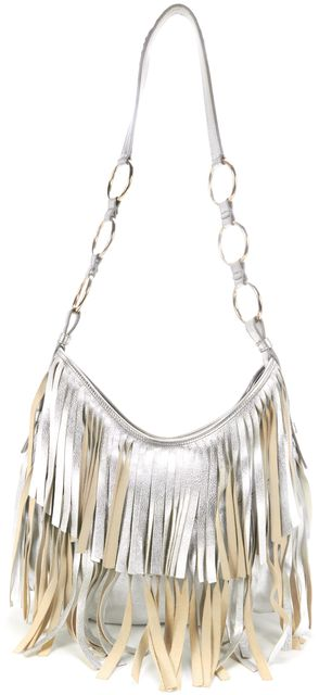 YVES SAINT LAURENT Silver Leather Fringe Shoulder Bag