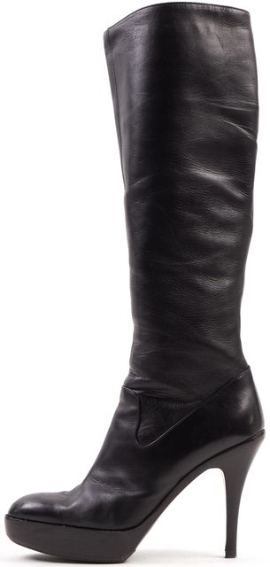 YVES SAINT LAURENT Black Leather Platform Knee-High Boots