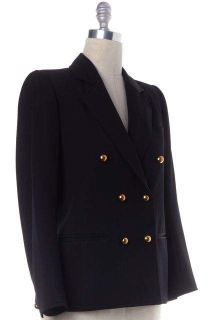 YVES SAINT LAURENT Black Wool Gold Button Blazer