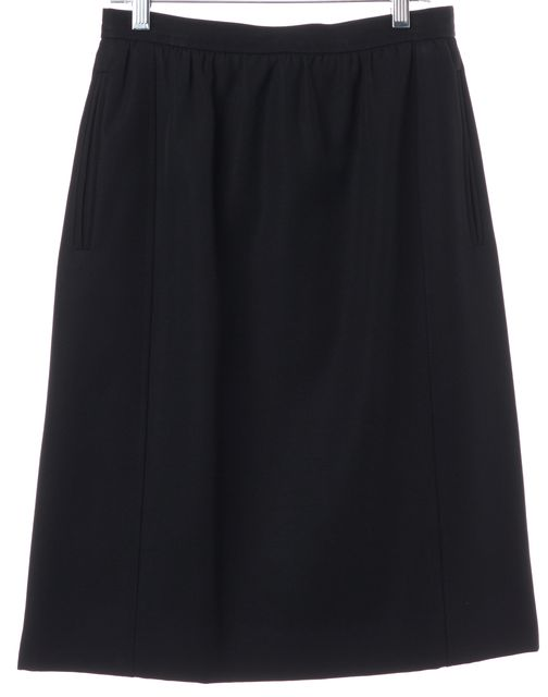 YVES SAINT LAURENT Black Pleated Knee Length Straight Skirt