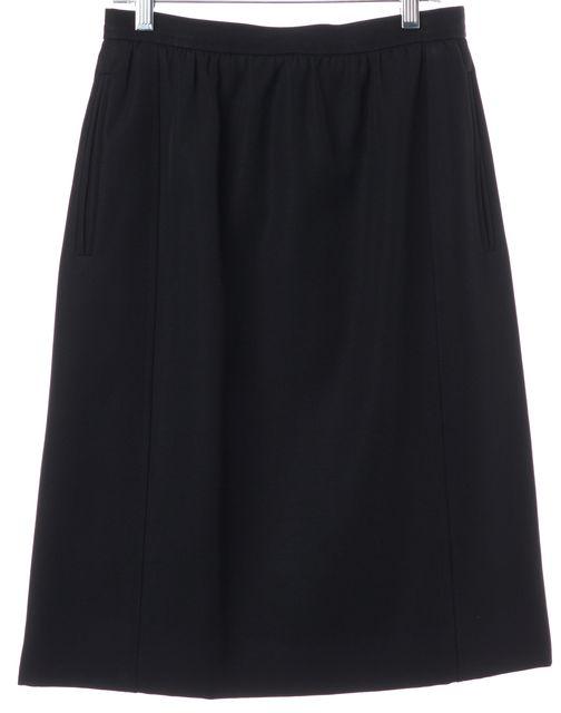 YVES SAINT LAURENT Black Pleated Knee Length Straight Skirt
