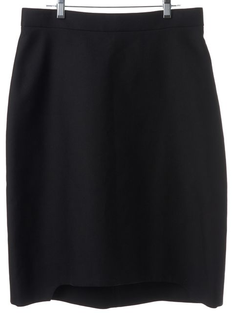 YVES SAINT LAURENT Black Wool Blend Pencil Skirt Size US 12 FR 44