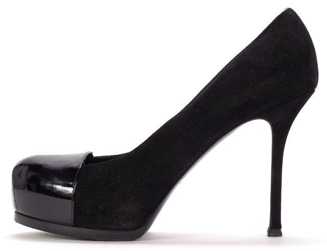YVES SAINT LAURENT Black Suede Patent Leather Cap Toe Platform Heels