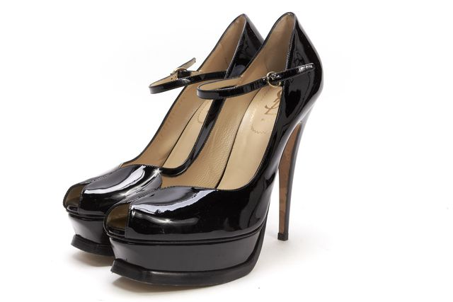 YVES SAINT LAURENT Black Patent Leather Casual Mary Jane Platform Heels