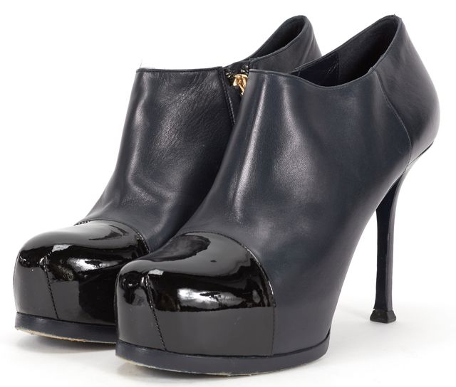 YVES SAINT LAURENT Navy Leather Ankle Boot Heels