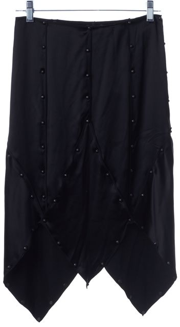 YVES SAINT LAURENT Black Silk Panel Skirt