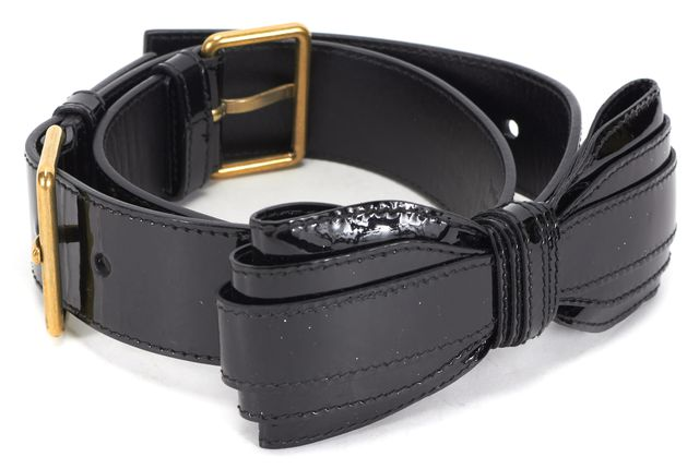 YVES SAINT LAURENT Black Patent Leather Bow-Tie Embellished Belt