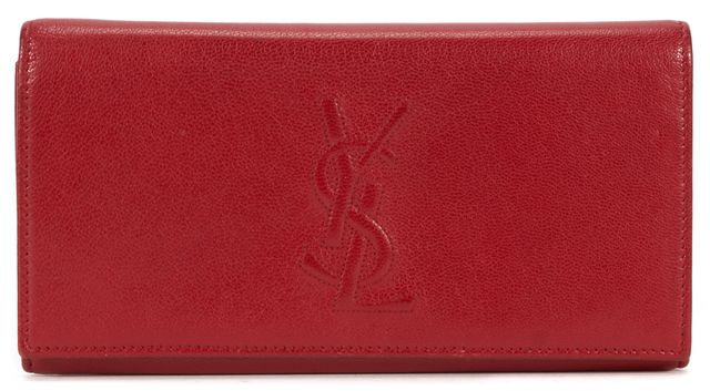 YVES SAINT LAURENT Red Leather YSL Flap Wallet