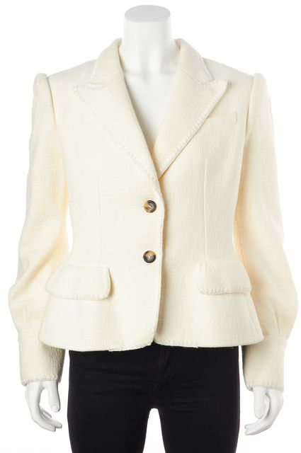 YVES SAINT LAURENT Ivory Basic Casual Knit Two Button Blazer Jacket