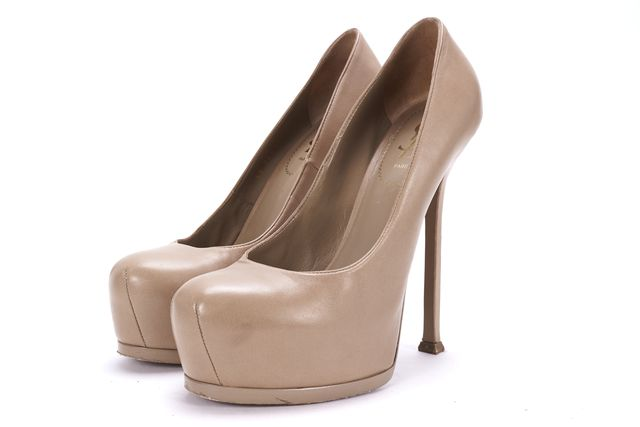 YVES SAINT LAURENT Beige Leather Casual Platform Pump Stiletto Heels