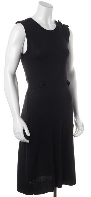 YVES SAINT LAURENT Black Casual Wool Sheath Belted Waist Sweater Dress