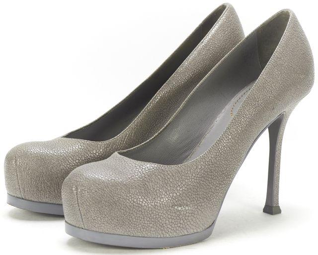YVES SAINT LAURENT Gray Stingray Embossed Leather Platform Pump Heels