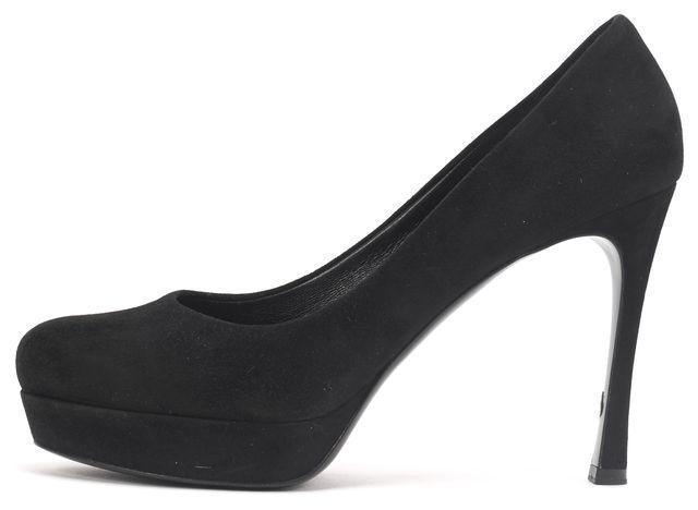 YVES SAINT LAURENT Black Suede Casual Round Toe Platform Pump Heels