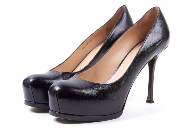 YVES SAINT LAURENT Black Leather Tribute Two Platform Pump Heels
