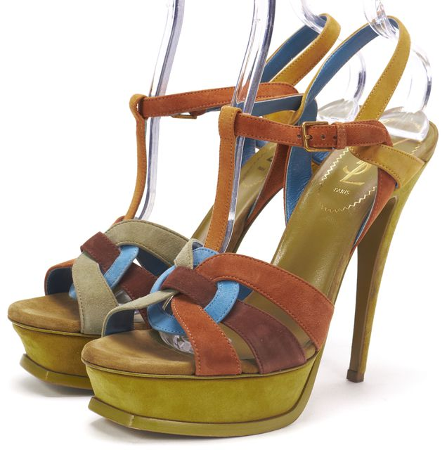 YVES SAINT LAURENT Green Brown Blue Suede Tribute Platform Strappy Heels