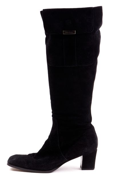 YVES SAINT LAURENT Black Suede Leather Pocket Square Toe Knee High Boots