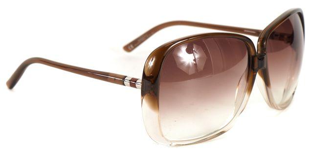 YVES SAINT LAURENT Brown Clear Acetate Square Gradient Lens Sunglasses