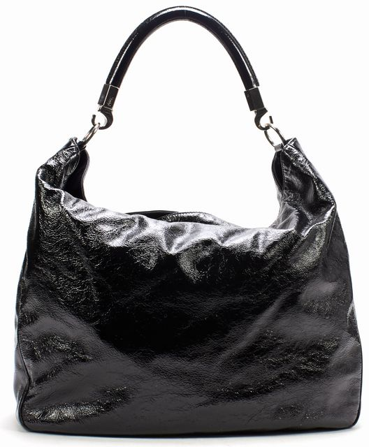 YVES SAINT LAURENT Black Patent Leather Silver Hardware Large Roady Hobo Bag