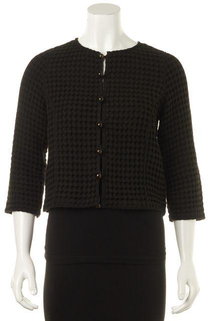 YVES SAINT LAURENT Black Geometric 3/4 Sleeve Button Front Cardigan