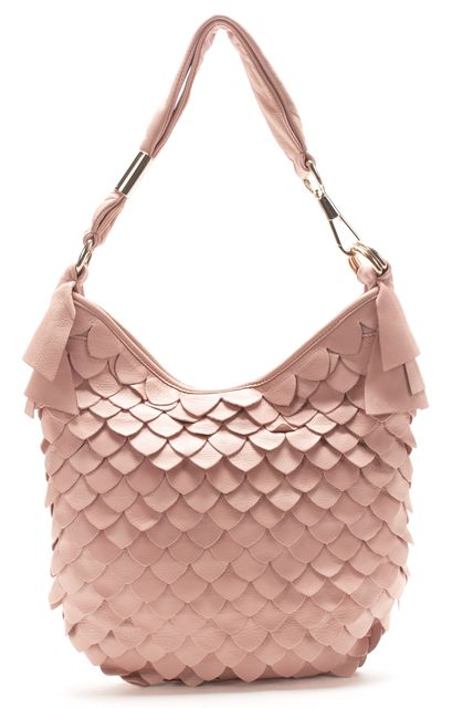 YVES SAINT LAURENT Blush Pink Leather St. Tropez Tiered Scale Shoulder Bag