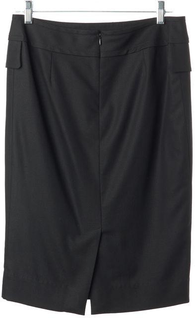 YVES SAINT LAURENT Black Wool Blend Faux Pocket Front Straight Skirt