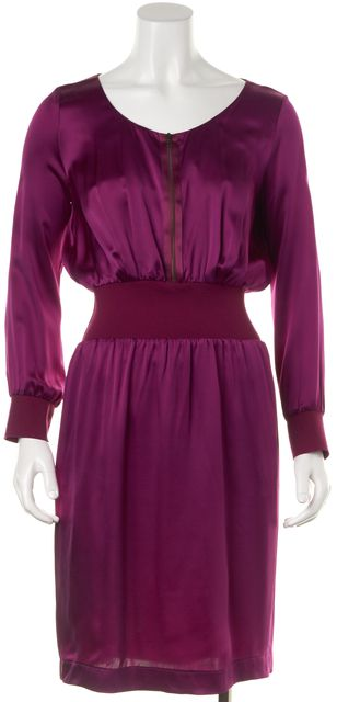 YVES SAINT LAURENT Purple Zip Front Pleated Blouson Dress