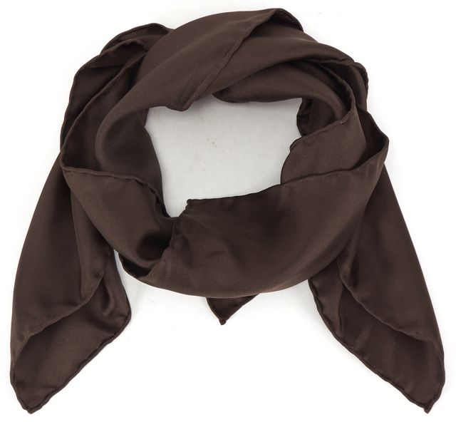 YVES SAINT LAURENT Chocolate Brown Silk Square Scarf